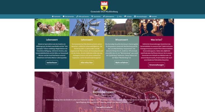 Webdesign in Nordwest-Mecklenburg. Die Internetseite der Gemeinde Dorf Mecklenburg.