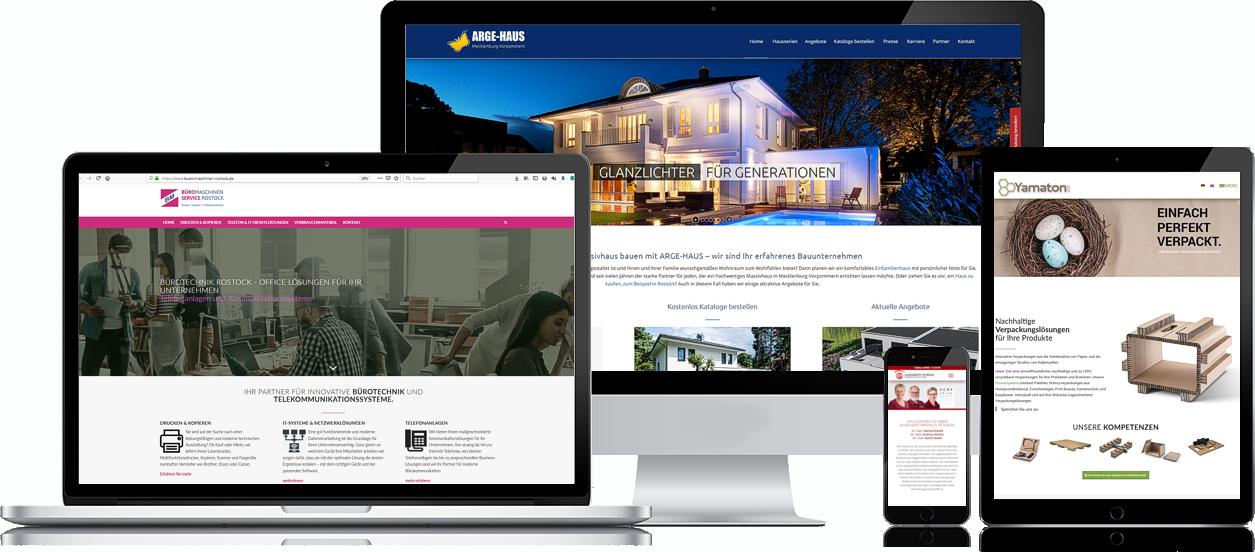 Wir erstellen Ihre Internetseite im modernen Webdesign. Werbeagentur Rostock.