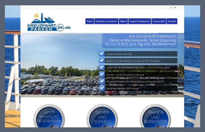 Internetseite Kreuzfahrtparken24.de in Rostock